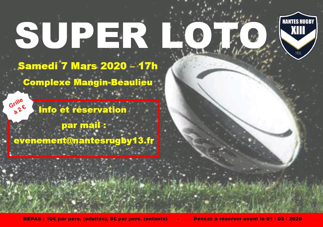 Soirée Loto du Nantes Rugby XIII le Samedi 7 Mars 2020