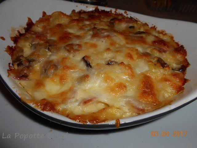 Gratin de Pâtes au jambon et raclette (utiliser les restes)
