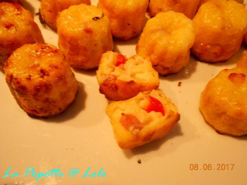 Minis cannelés au Jambon et Poivron