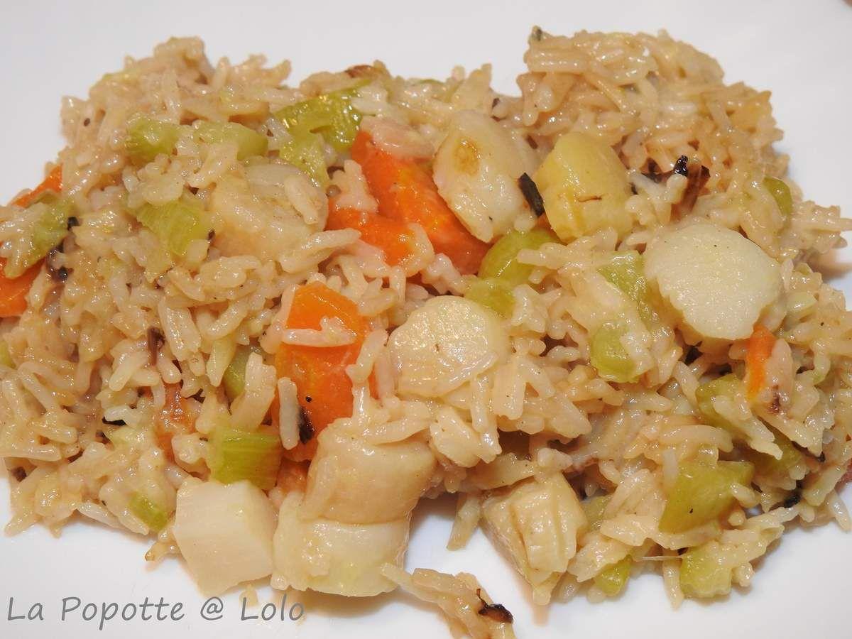 Noix de St jacques aux légumes et au riz (cookeo)