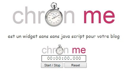 imprime ecran widget chronometre pour blogs
