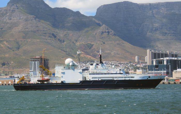 Le navire océanographique russe Yantar photographié au Cap le 16/11/2017. Crédit : Ian Shiffman / africaports.co.za