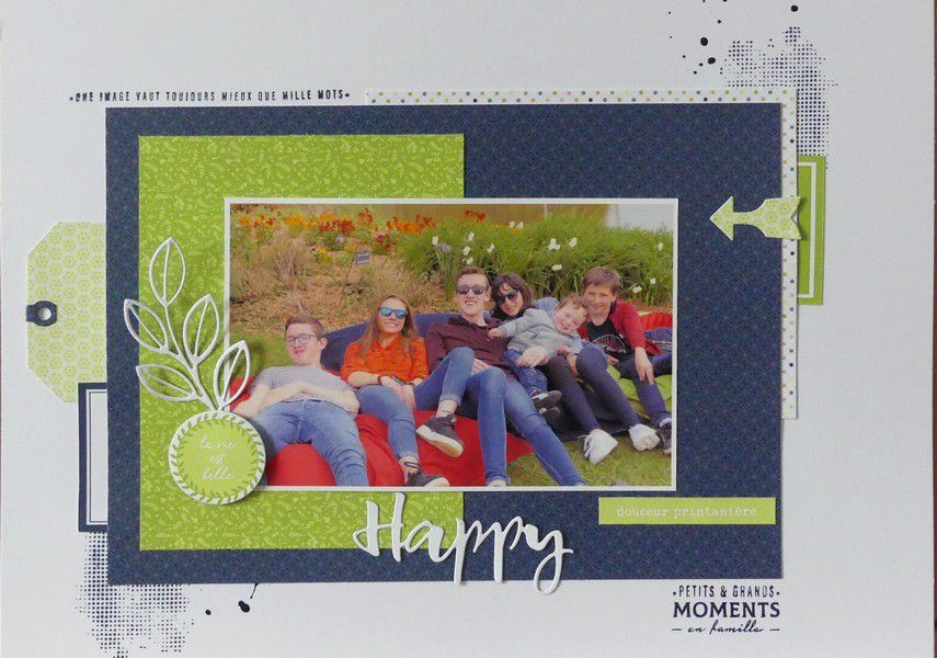 "Val49 : ""Happy"" Dictée de page du Scrapbooking day"