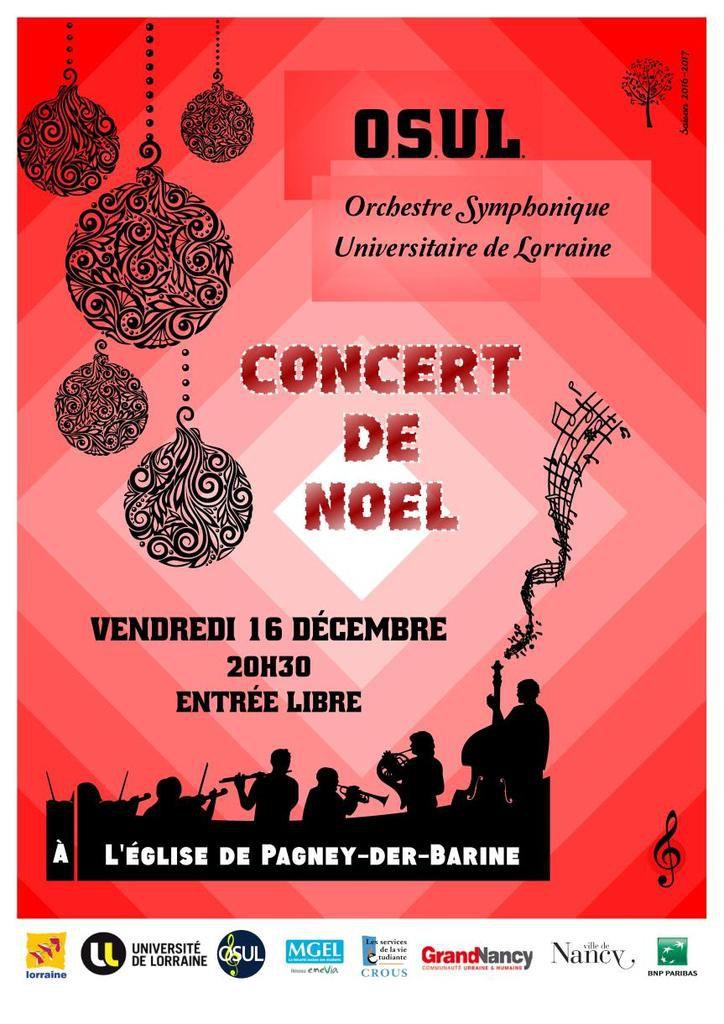 vendredi 16 décembre à 20h30 : Concert symphonique de l'O.S.U.L à Pagney derrière barine