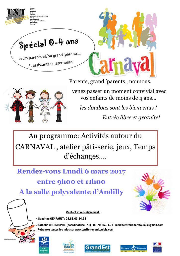 Matinée parents, nounous, enfants (0-4 ans) sur le thème du Carnaval - Lundi 6 mars 2017 à Andilly