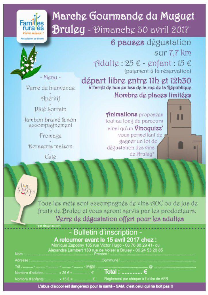Marche gourmande du Muguet - Dimanche 30 avril 2017 à Bruley