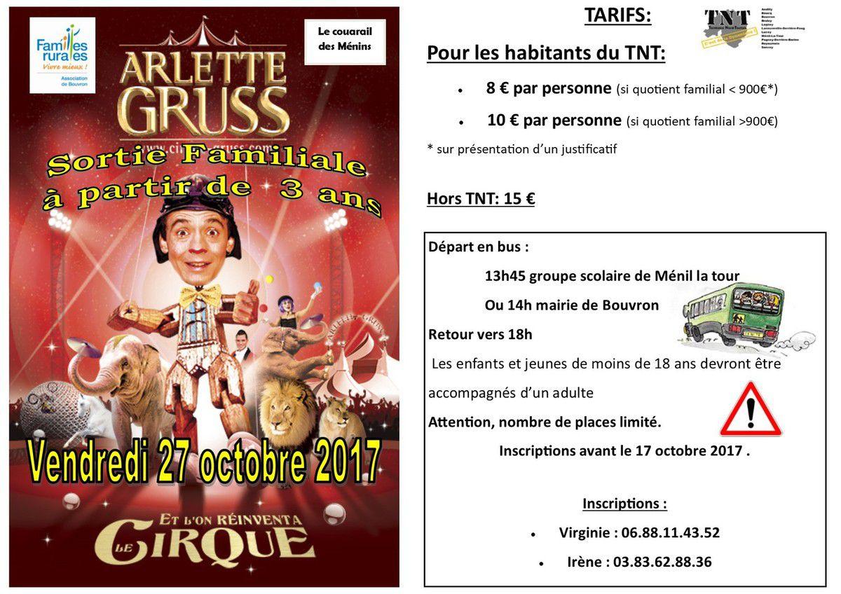 Sortie familiale Cirque Arlette Gruss - Vendredi 27 octobre 2017