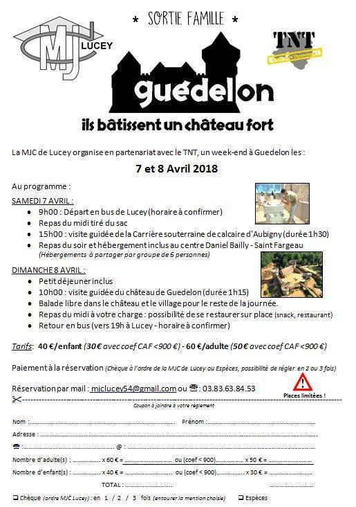 Week-end Familial à GUEDELON les 7et 8 avril 2018