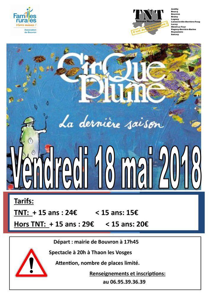 Sortie au Cirque Plume - Vendredi 18 mai 2018