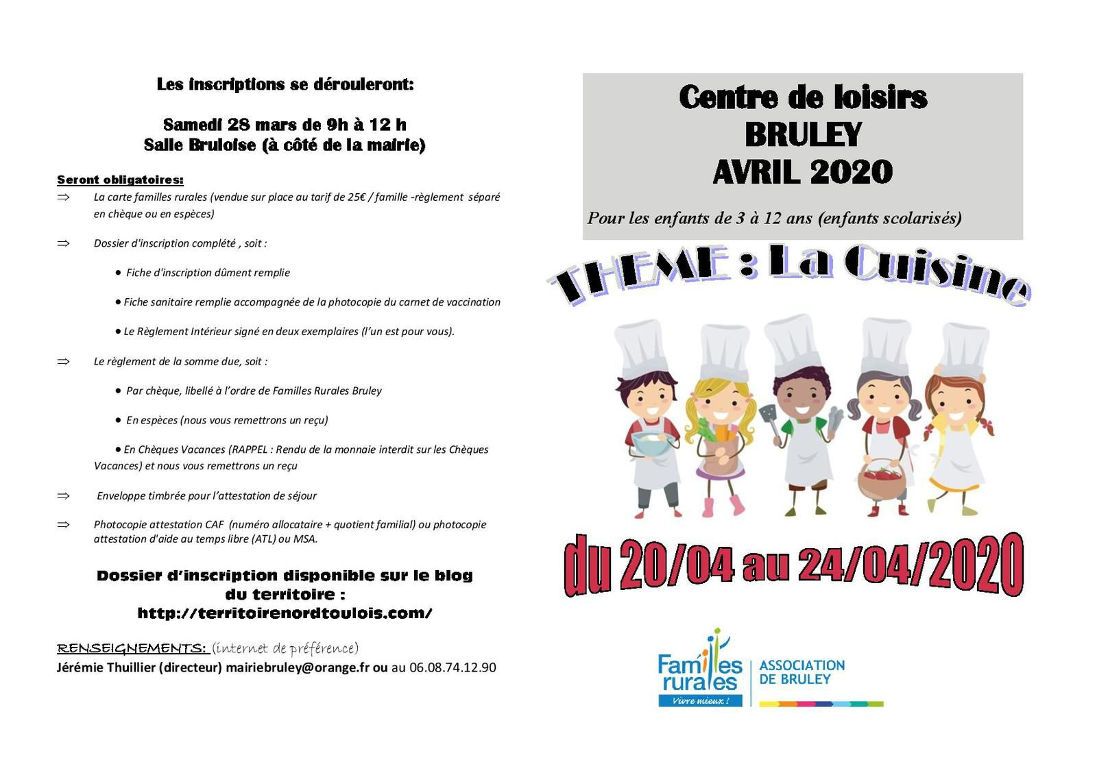 Centre de loisirs Bruley -Avril 2020