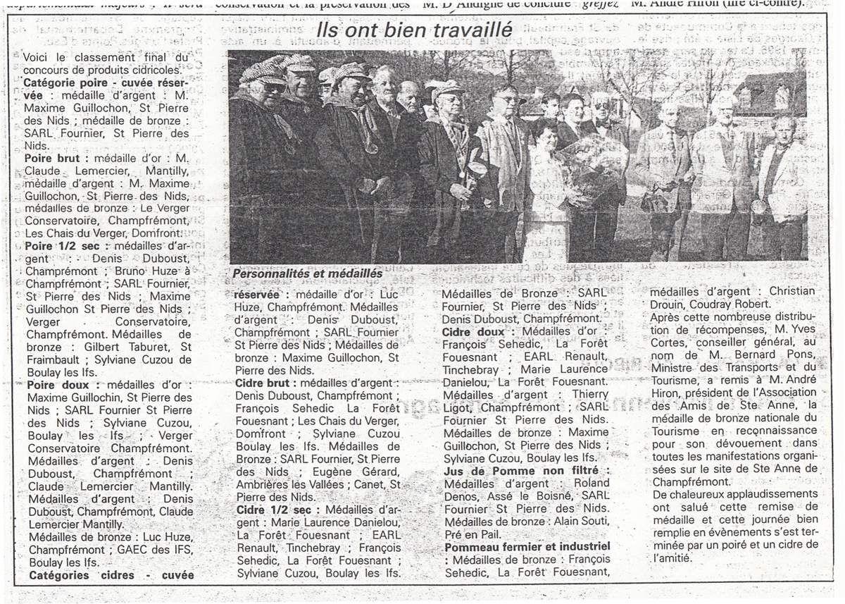 Les résultats sont publiés dans l'Orne Hebdo du 17 avril 1997.
