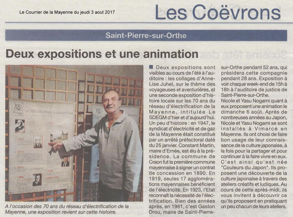 Article du Courrier de la Mayenne du 3 aout 2017