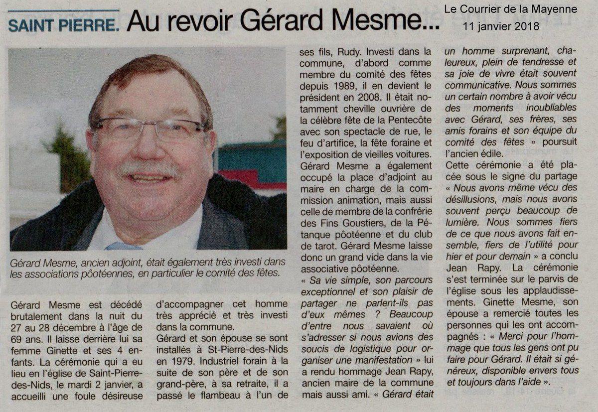 L'article du Courrier de la Mayenne du 11 janvier 2018.