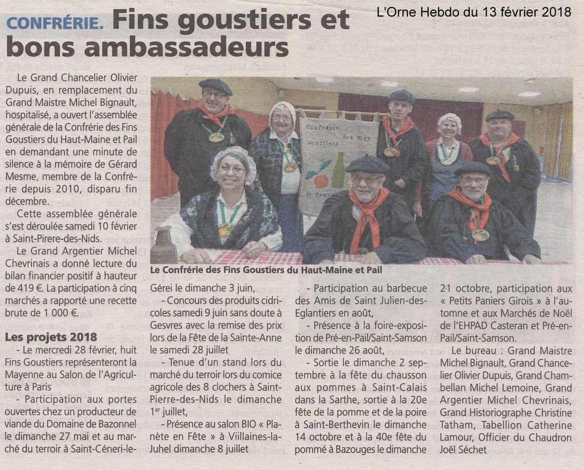 L'Orne Hebdo du 13 février 2018.