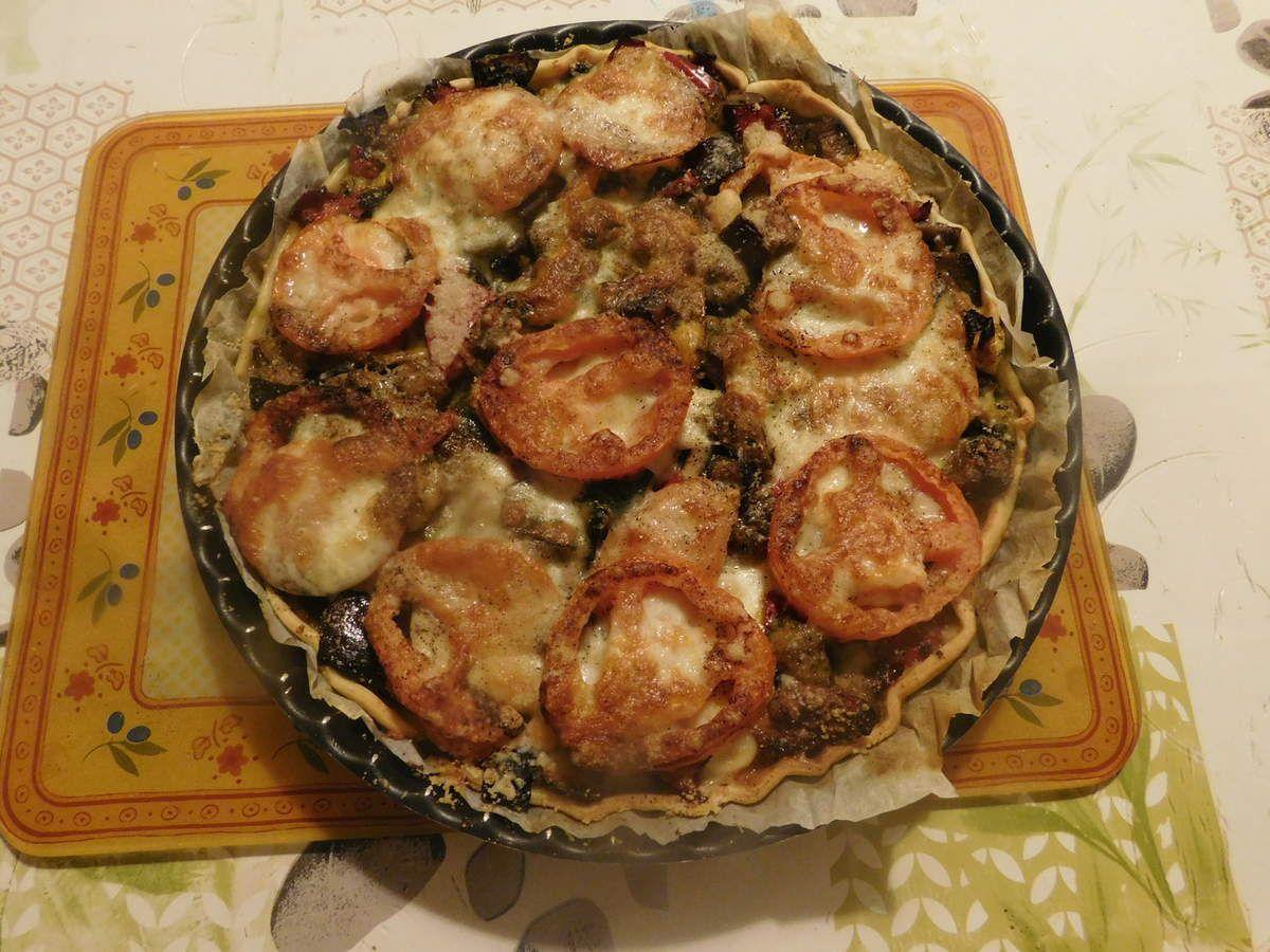 Tarte  aux aubergines, tomates et mozzarella