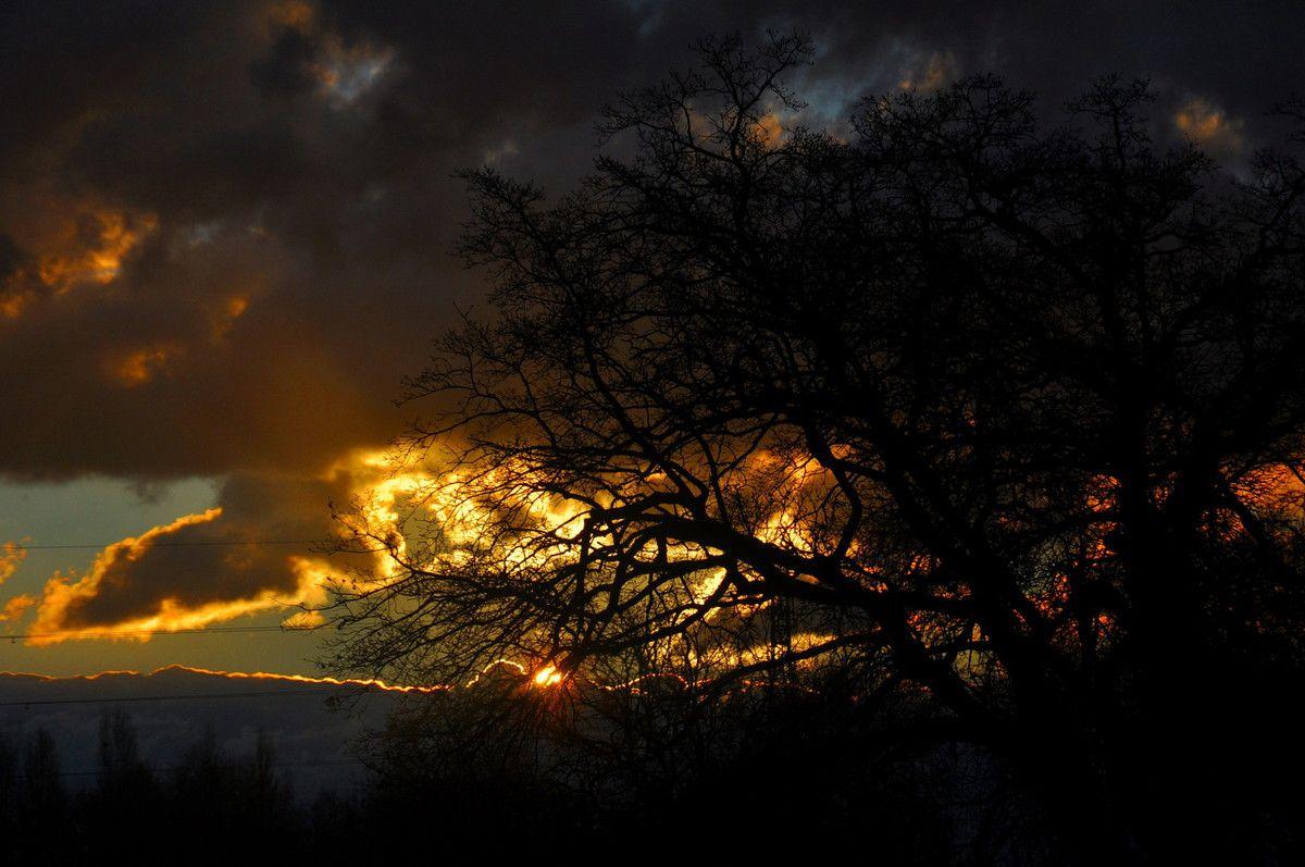 Soleil levant sur la mer de nuages.