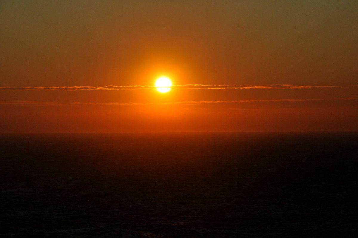 Soleil sur la mer.