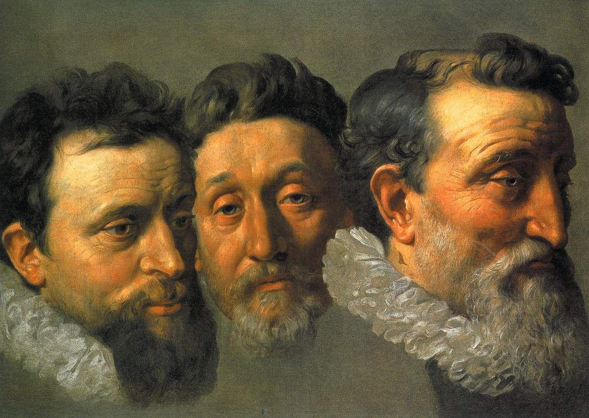 1078 Frans Pourbus le Jeune Etude de têtes  trois magistrats français (Flamand, 1569 - 1622) Huile sur toile