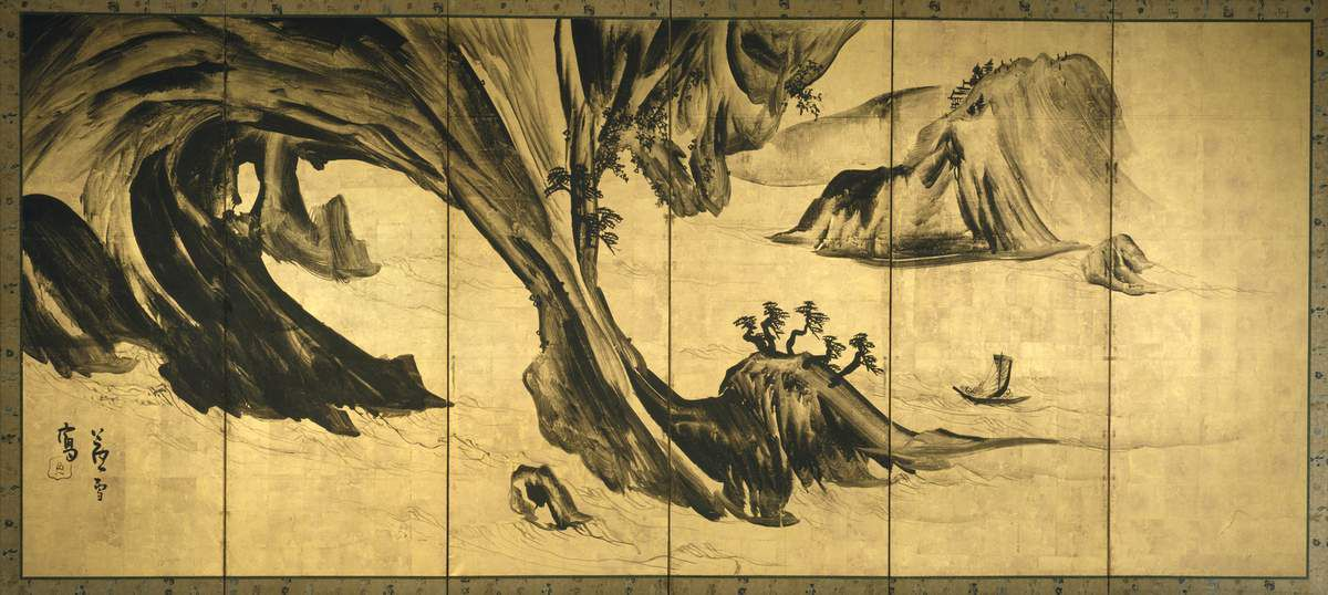 Landscapes with Chinese Figures Nagasawa Rosetsu (1754-1799). 1795-99, Detail from a pair of six-panel folding screens; ink on gold leaf on paper. Lent by The Metropolitan Museum of Art, The Harry G. C. Packard Collection of Asian Art, Gift of Harry G.C. Packard, and Purchase, Fletcher, Rogers, Harris Brisbane Dick, and Luis V. Bells Funds, Joseph Pulitzer Bequest, and the Annenberg Fund Inc. Gift, 1975