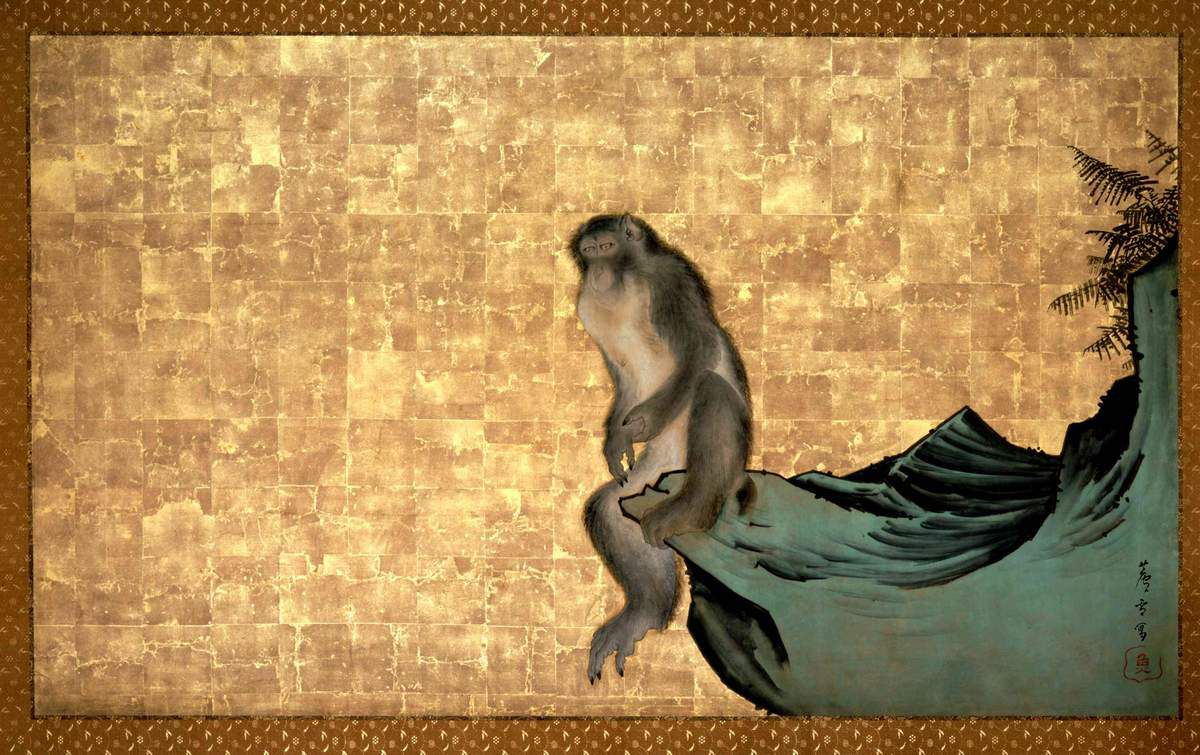 Monkey on a Rock Nagasawa Rosetsu (1754-1799). c. 1792 – 1794, Detail from a framed panel; ink and colour on gold ground. Private Collection, Japan