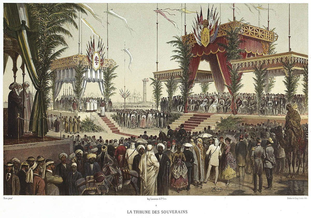 Edouard Riou, Eugène Cicéri, La Tribune des Souverains © Souvenir de Ferdinand de Lesseps et du Canal de Suez / Lebas Photographie Paris