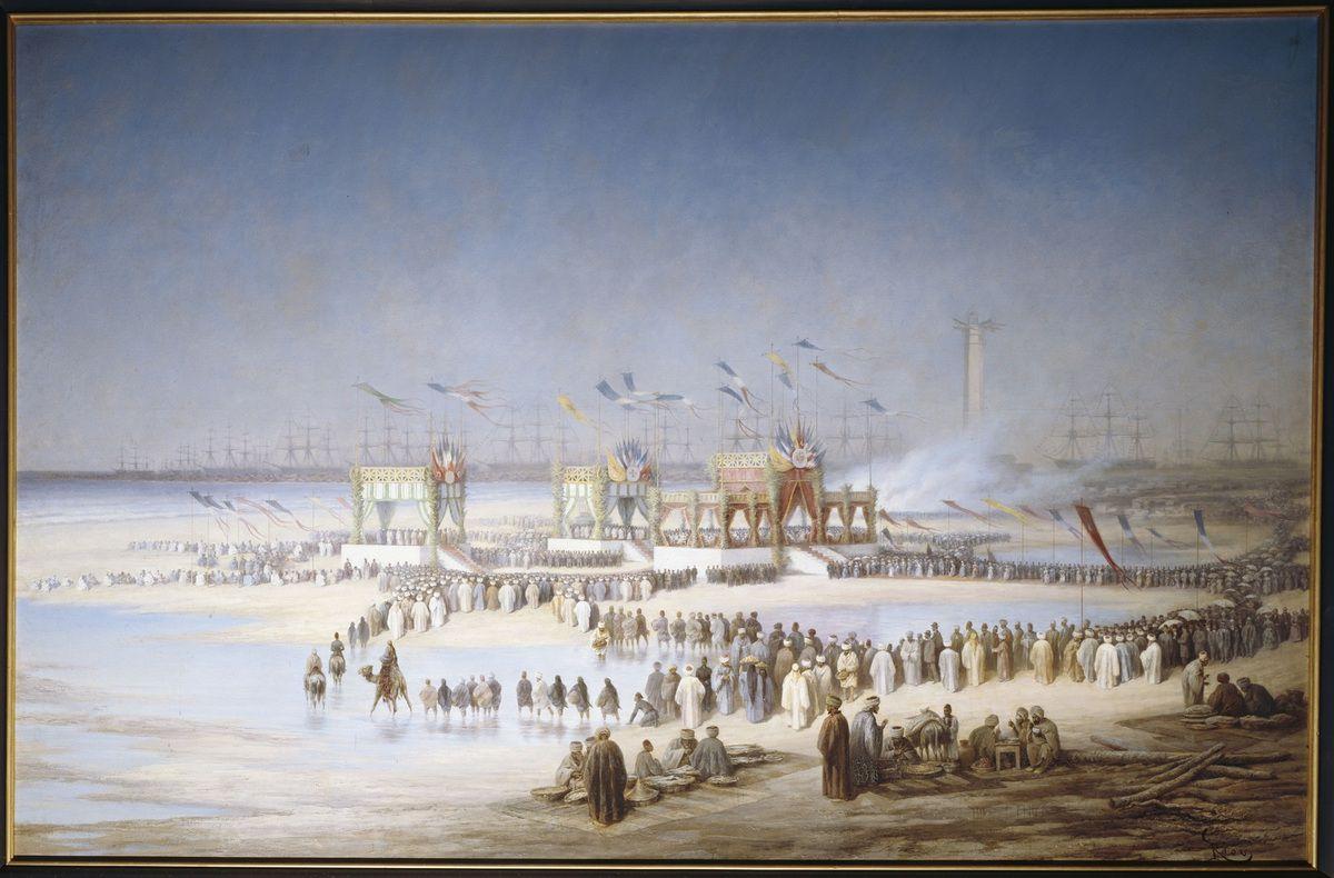 Edouard Riou (1833-1900): Cérémonie d'inauguration du Canal de Suez à Port-Saïd, le 17 novembre 1869, Photo © RMN-Grand Palais (domaine de Compiègne) / Daniel Arnaudet