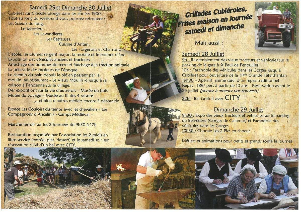 A  vos agendas : 11ème fête des métiers d'antan à Cubières sur Cinoble