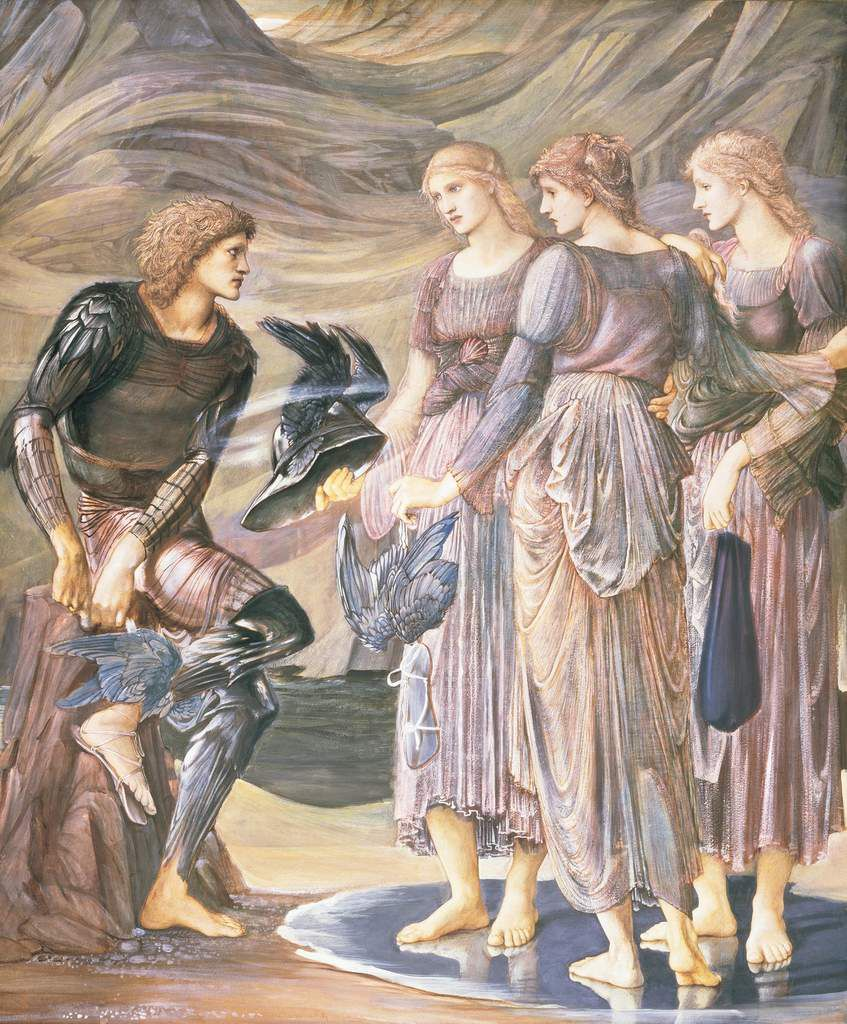 Perseus and the Sea Nymphs (The Arming of Perseus) 1877 bodycolour on papier 1528x1264 Southamton City Art Gallery