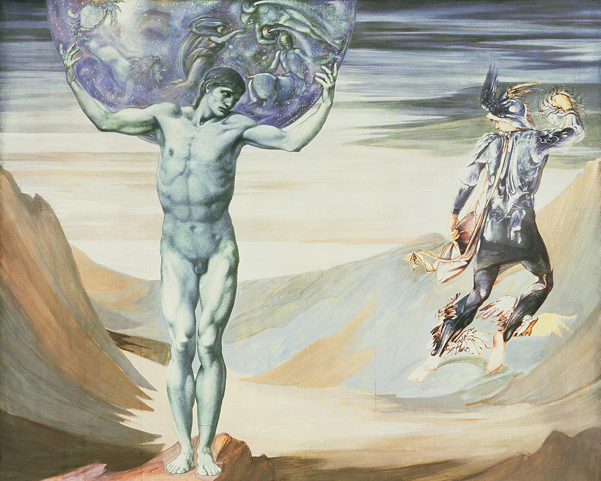 Atlas Turned to Stone 1878 Body colour on paper 1502x1902 mm - Southamton City Art Gallery