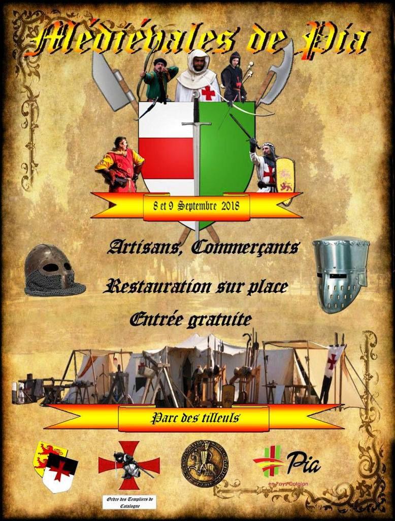 A vos agendas : fête médiévale le 8 et 9 septembre au parc des tilleuls à Pia