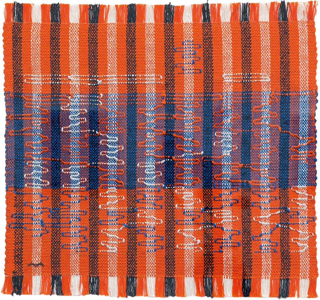 Anni Albers Intersecting 1962 Pictorial weaving, cotton and rayon 400 x 419 mm Josef Albers Museum Quadrat Bottrop © 2018 The Josef and Anni Albers Foundation/Artists Rights Society (ARS), New York/DACS, London