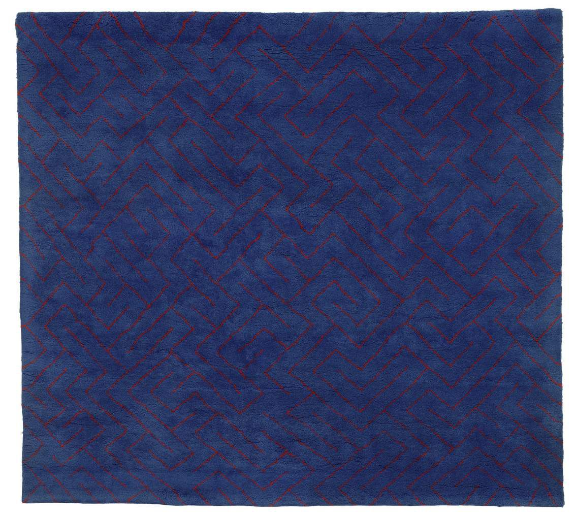 Anni Albers Red Lines on Blue 1979 Designed for Modern Masters Tapestries Wool 167.6 x 182.9 cm The Josef and Anni Albers Foundation, Bethany CT © 2018 The Josef and Anni Albers Foundation/Artists Rights Society (ARS), New York/DACS, London Photo: Tim Nighswander/Imaging4Art