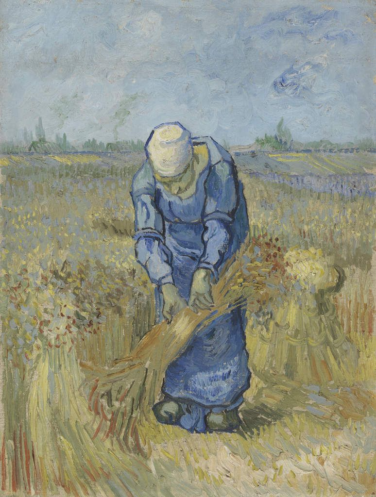 Vincent van Gogh, Peasant Woman Binding Sheaves (after Millet), September 1889, oil on canvas on cardboard, Van Gogh Museum, Amsterdam (Vincent van Gogh Foundation).