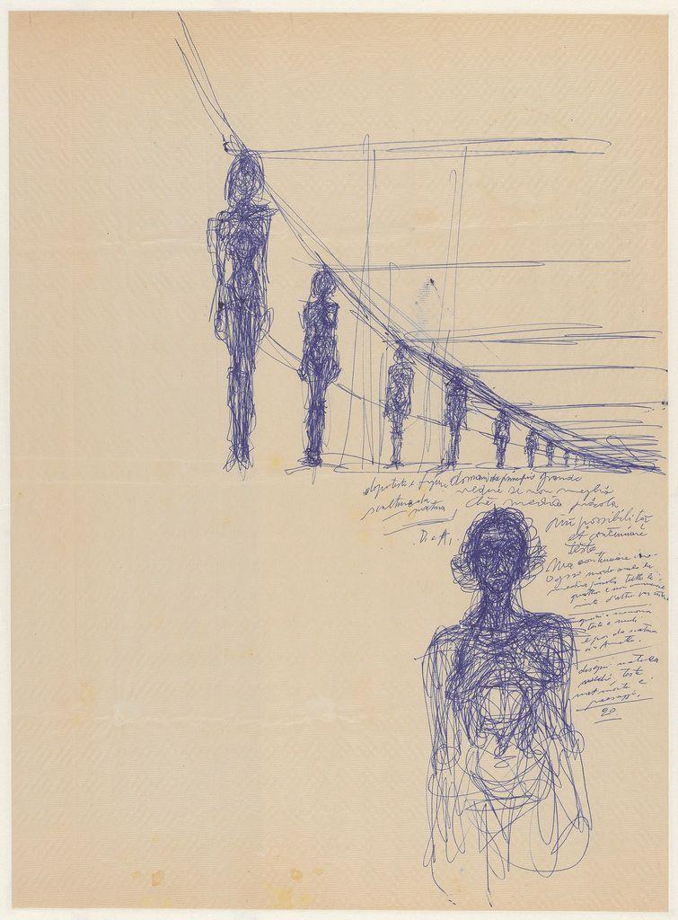 ALBERTO GIACOMETTI Annette nue debout et femmes debout en perspective, ca. 1955 Stylo-bille bleu sur papier 54.6 x 54.9 cm © Alberto Giacometti Estate / VEGAP, Bilbao, 2018