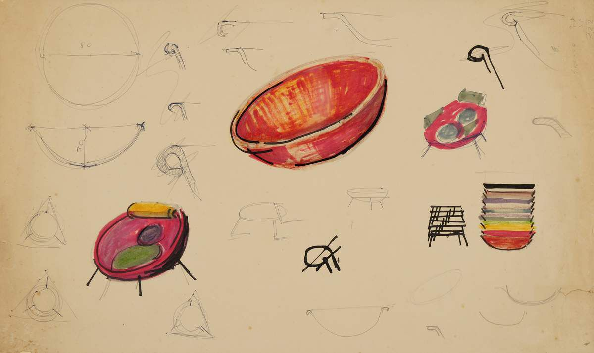 Lina Bo Bardi Sketches for the Bardi Bowl chair, 1951 Ballpoint pen, graphite, India ink and wax crayon on offset paper 28.6 x 47.5 cm