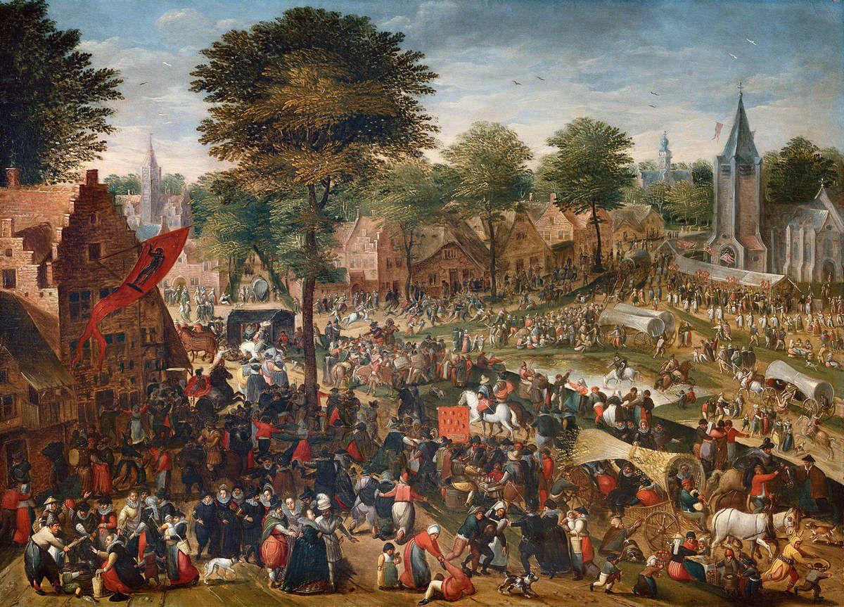 HANS BOL (Mechelen, 1534 – Amsterdam, 1593) Kermesse flamande Huile sur bois, 55,2 × 77,6 cm Anvers, Snijders & Rockoxhuis Museum, inv. 77.103 © KBC, Anvers, La Maison Snijders & Rockox