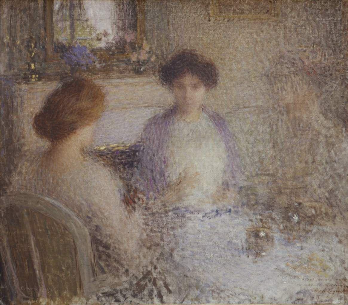 Ernest Laurent. La famille de Paul Jamot prenant le thé à Bièvres, 1910. huile s t, 71 x 81 cm. Musée des beaux-arts et d'archéologie, Roanne, inv. 2590 © Musée