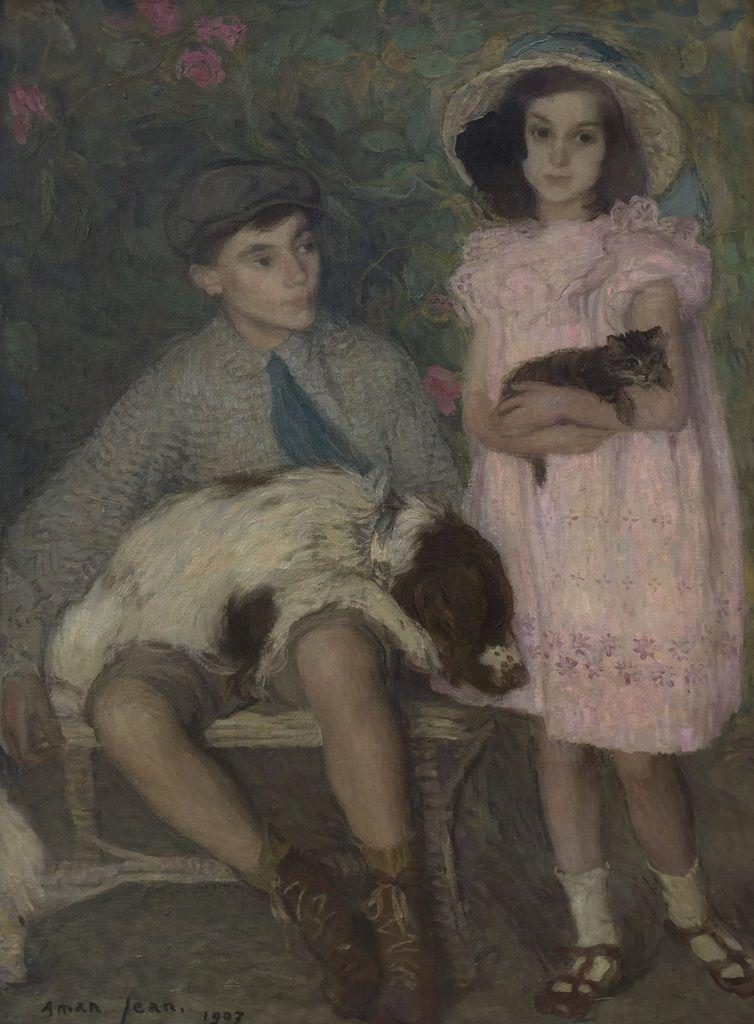 Edmond Aman-Jean. Line et François Aman-Jean, 1907. Huile sur toile, 130 x 97 cm. Coll part. Ph. Jean-François Heim