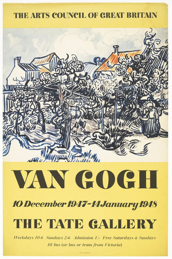 Van Gogh and Britain Tate Britain, 27 March – 11 August 2019 Vincent van Gogh exhibition poster Tate Gallery 1947 © Tate, 2018