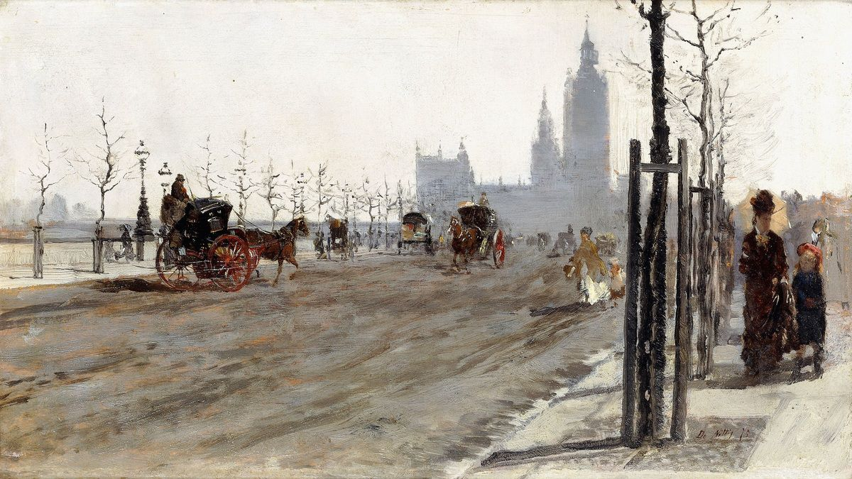 Giuseppe de Nittis (1846 – 1884) The Victoria Embankment, London 1875 Oil paint on panel 184 x 317 mm Private collection