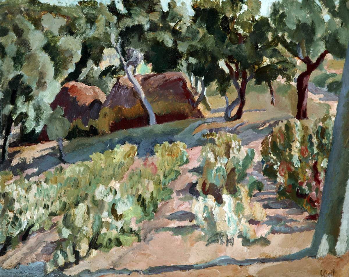 Vanessa Bell (1879 – 1961) The Vineyard Date unknown Oil paint on board 470 x 555 mm The Atkinson, Lord Street, Southport. The Estate of Vanessa Bell, courtesy of Henrietta Garnett