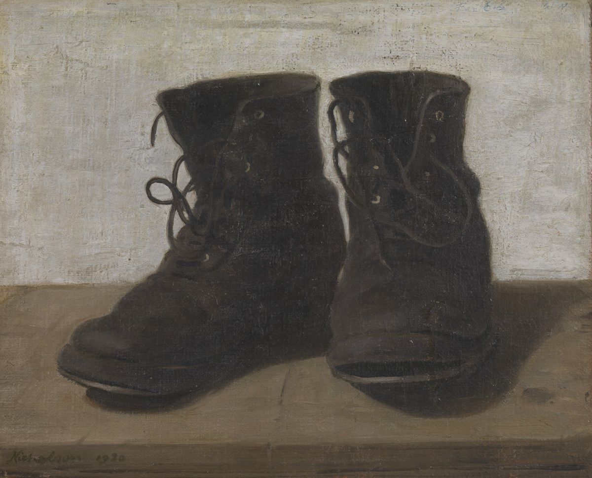 William Nicholson (1872-1949) Miss Jekyll's Gardening Boots 1920 Oil paint on wood 324 x 400 mm Tate © Desmond Banks