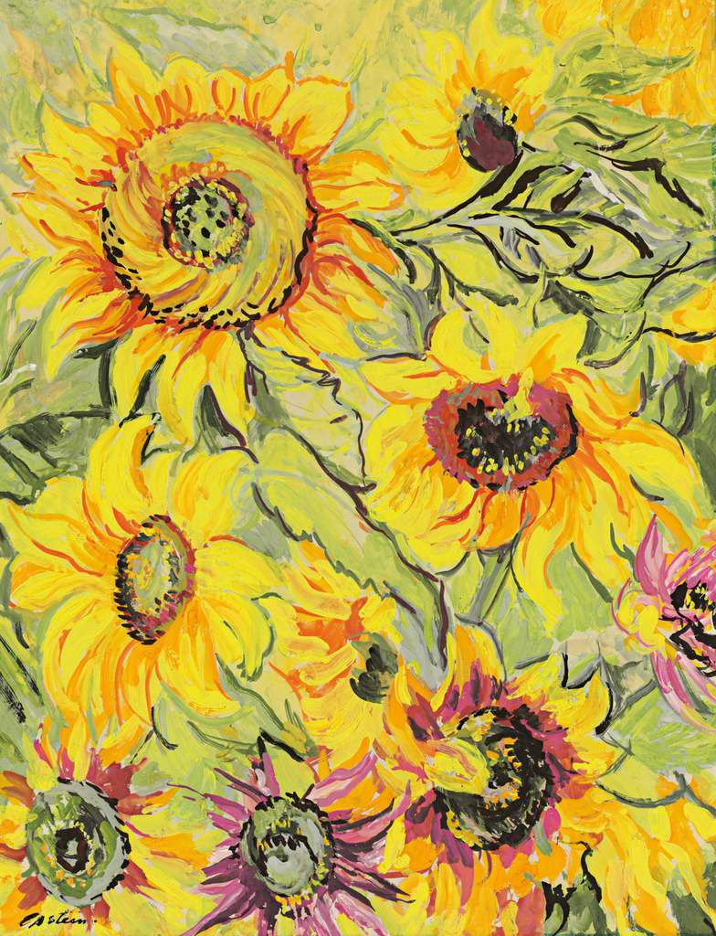 Jacob Epstein (1880 – 1959) Sunflowers 1933 Watercolour and gouache 559 x 432 mm Private collection © The estate of Sir Jacob Epstein