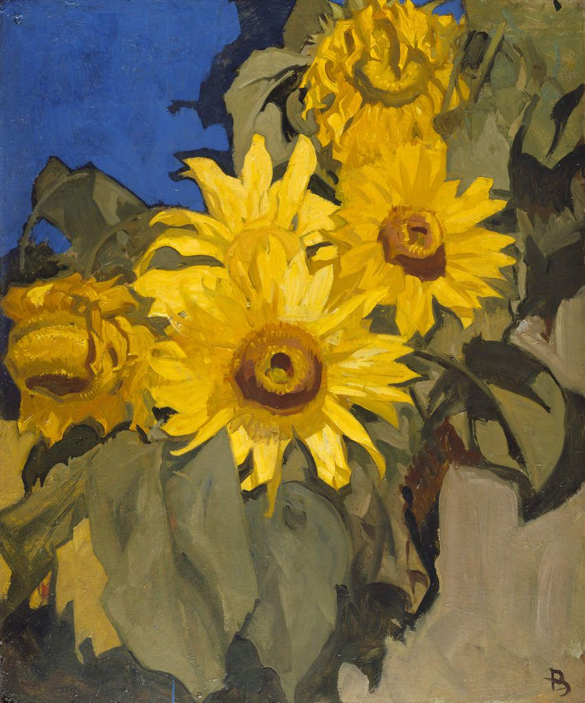 Frank Brangwyn (1867 – 1956) Sunflowers Early 20th century Oil paint on board 755 x 632 mm Lent by the Royal Academy of Arts, London © The Estate of Frank Brangwyn / Bridgeman Images