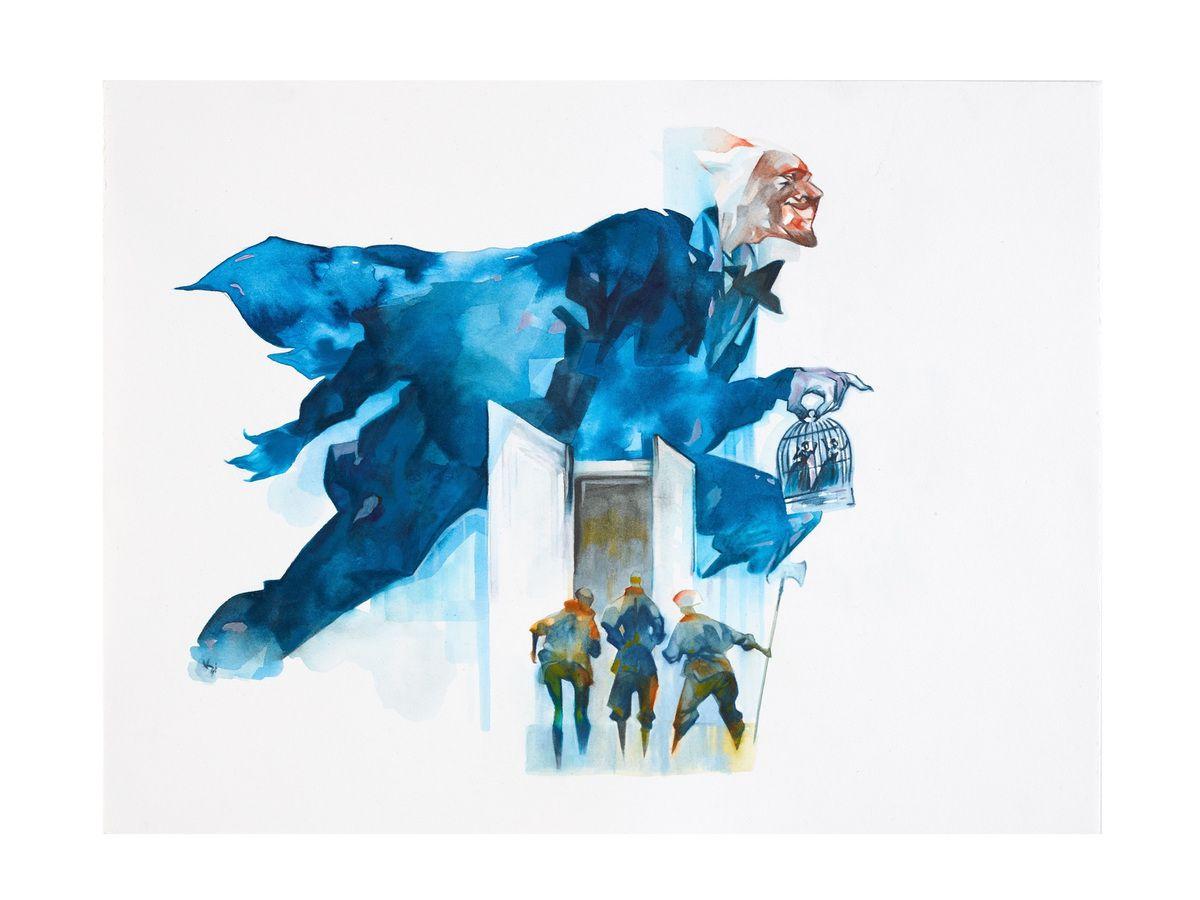 Les pantalons du Diable (pl. 4/4) Par Jean-Philippe Kalonji (1973 - ) Suisse, Genève 2018 Aquarelle et huile sur papier Réalisé pour le MEG à l'occasion de l'exposition Photo: © MEG, J. Watts