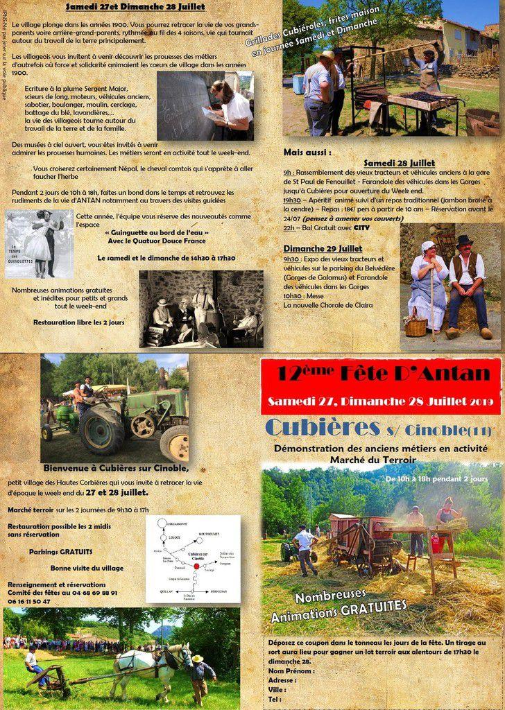 A vos agendas : 12ème fête des métiers d'antan à Cubières sur Cinoble