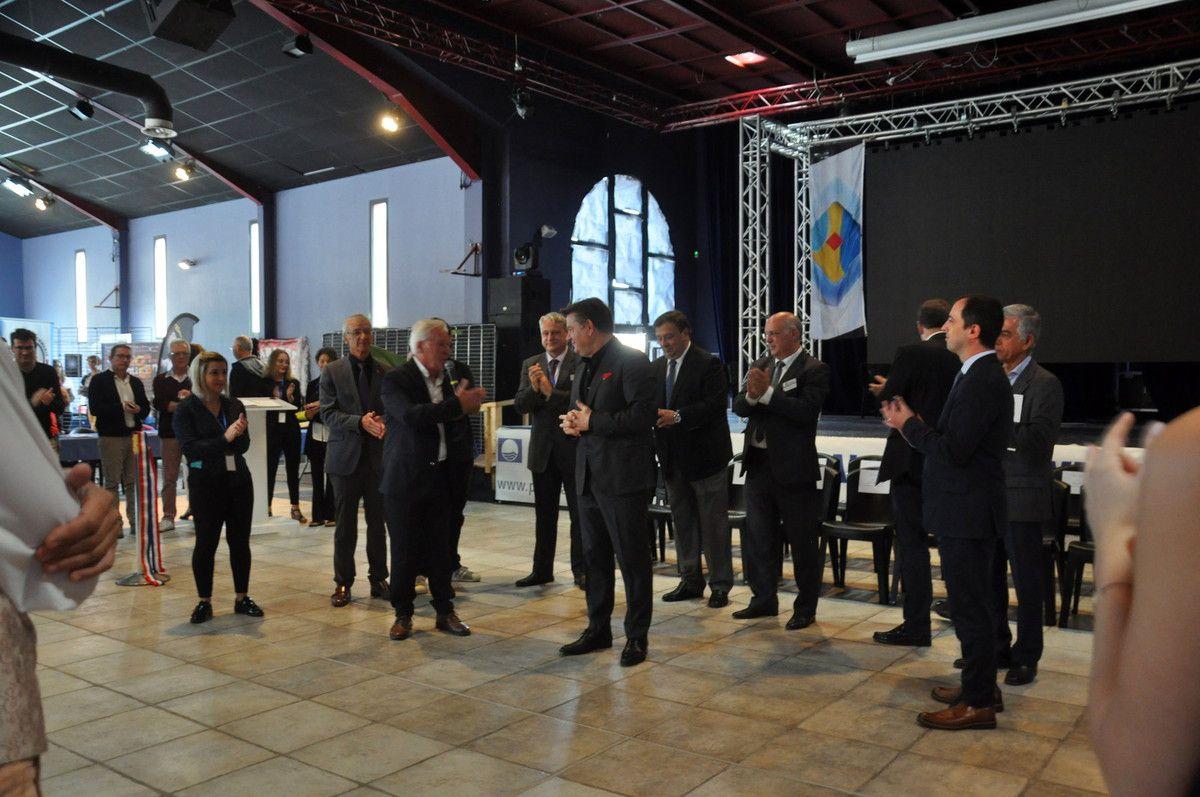Les discours avec le président de l'association et le maire du Barcarès.