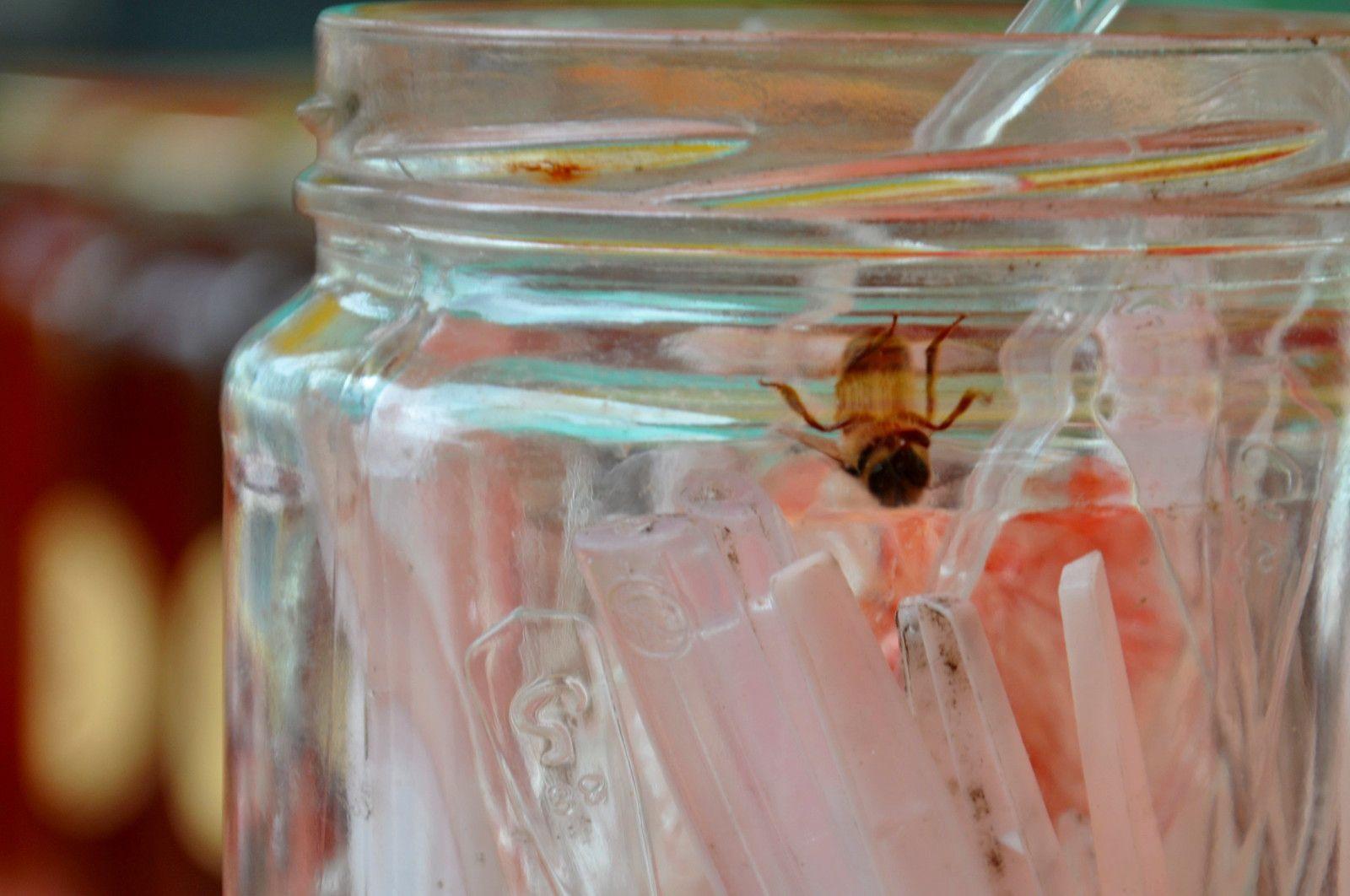 En bonus des abeilles dans le pot des cuillères
