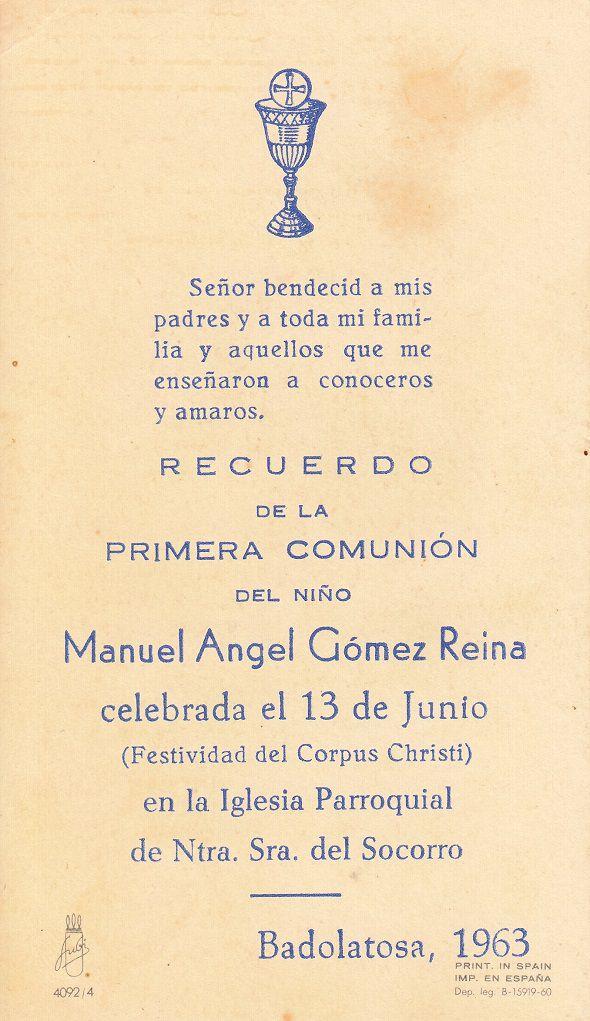 Recuerdos de primera Comunión año 1963