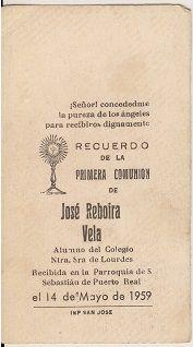 Recuerdos de primera Comunión año 1959